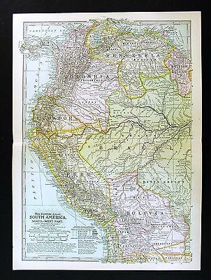 1902 Century Map Ecuador Peru Bolivia Colombia Chile Brazil Amazon South America