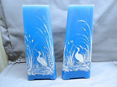 Pair Of French Portieux Vallerysthal PV Blue Opaline Glass Tri Corner Vases