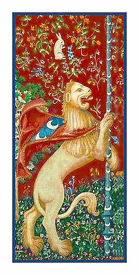Medieval Lady and the Unicorn Lion detail Counted Cross Stitch Pattern