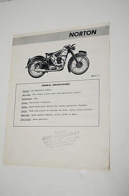 Vintage Norton Model 7 Motorcycle Ad Flyer Brochure Advertising