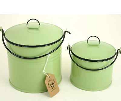 Vintage Style Reproduction Green Enamel Lunch Pail Set/2 With Lids Retro Style