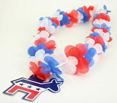 Democrat Campaign Political Presidential Election Donkey Necklace Flower Leis 6