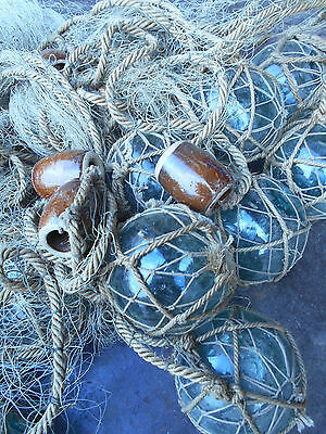 Vintage Glass Fishing 22 Floats in Bunch with Rope and Medium Net Japanese #505