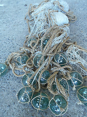 Vintage Glass Fishing 15 Floats in Bunch with Rope and Medium Net Japanese #507