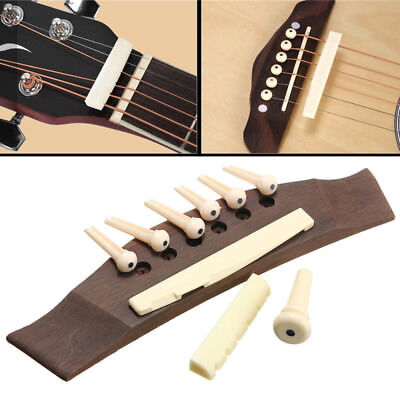 Replacement Set Acoustic Guitar Bridge Rosewood + Bone Pins + Saddle + Nut Wood