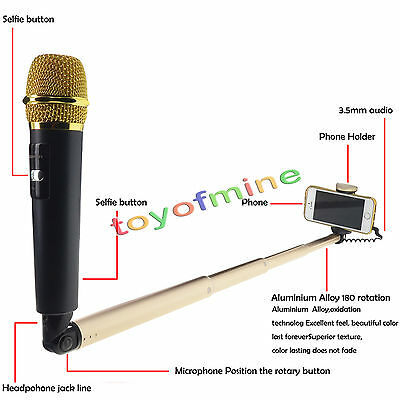 New Microphone Selfie Stick With Mic Voice for Android phone Iphone Sing Karaoke