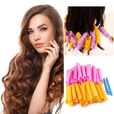 40PCS 24 DIY 55CM Magic Leverag Hair Curlers Tool Styling Rollers Spiral Circle