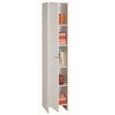 Flash Tall Bathroom Cabinet In White With 1 Door