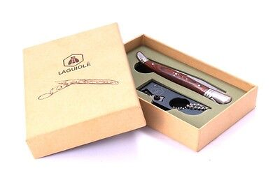 Laguiole L'Eclair Pocket Knife and Key Ring Knife Sharpener, gift box