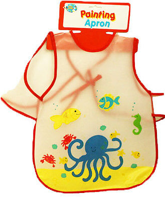 2 x Painting Baking Aprons Child Toddler Bib Wipe Clean Apron Messy RED
