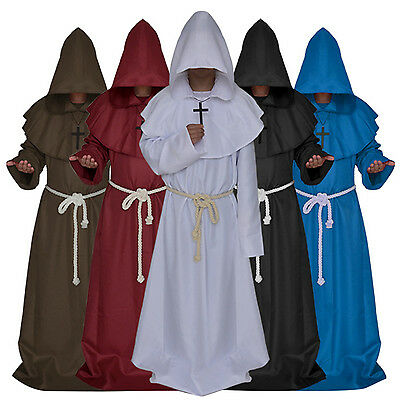 Halloween Monk Wizard Clothing Friar Robe Priest Christian Church Father Cosplay