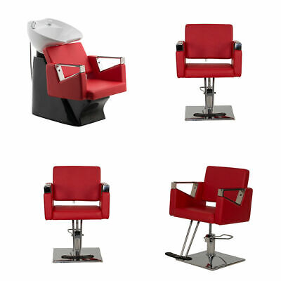 Red 4 Piece Hair Salon Wash Basin And Salon Hairdressing Barber Chair Furniture