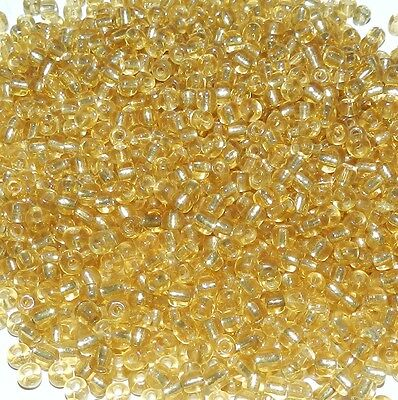 SBL106L Yellow Gold Silver Lined Transparent 6/0 (3.6mm) Glass Seed Bead 4-ounce