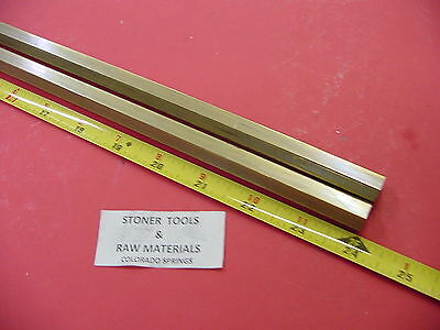 "2 Pieces 1/2"" C360 BRASS HEX BAR 24"" long New Lathe Bar Stock .50"" 1/2 Hard"