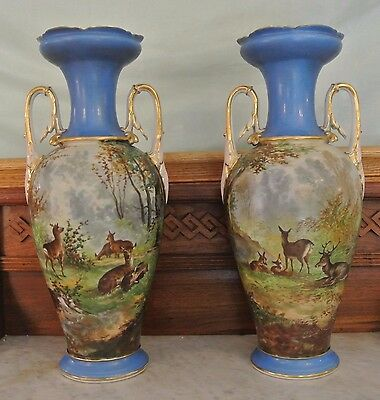 Pair Of Antique Old French Porcelain Ground Vases