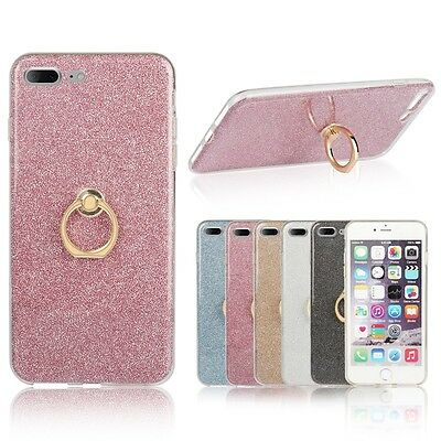 Gel With Ring Buckle Stand Holder Glitter Soft TPU Cover Case For Apple iPhone
