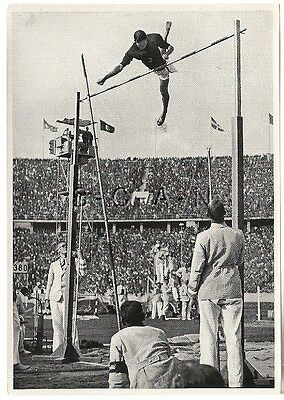 WWII GERMAN Large 1936 OLYMPIC Sports Photo Image- High Jump- Japanese Jumper Oe