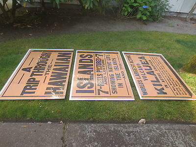 7FT PACIFIC ISLAND antique travel movie poster vtg hawaiian hula tiki surf art
