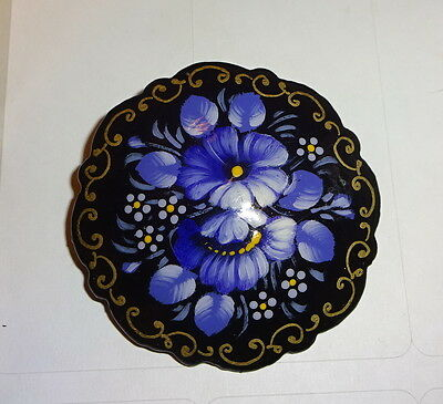 PURPLE FLOWERS handpainted pin Russian SIGNED handmade in Mstyora FLORAL brooch