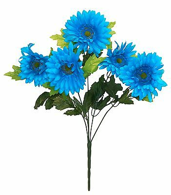 GERBERA DAISY x 5 ~ TURQUOISE  Silk Wedding Flowers Bouquets Centerpieces Bridal