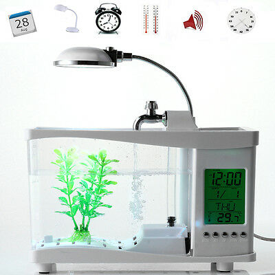 Mini USB Aquarium with LCD Display Desktop Fish Tank LED Clock Table Lamp White