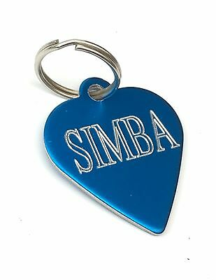 1 x Personalised Engraved Blue coloured Heart shaped pet tag