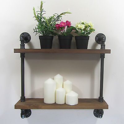 Urban Retro Industrial Iron Pipe Shelving Shelf Natural Wood 2 Tiers Shelves