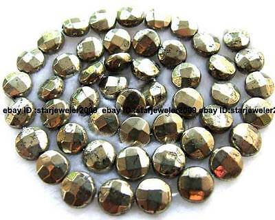 """8mm 10mm Coin Faceted pyrite Gemstone loose Beads 16"""""""
