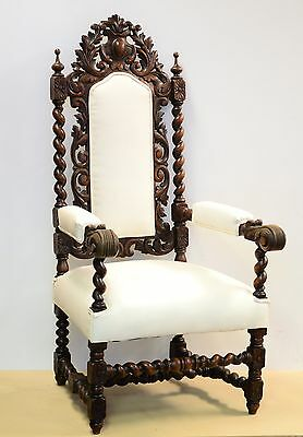 21056 : Antique Carved French Renaissance Barley Twist Hunt Arm Chair