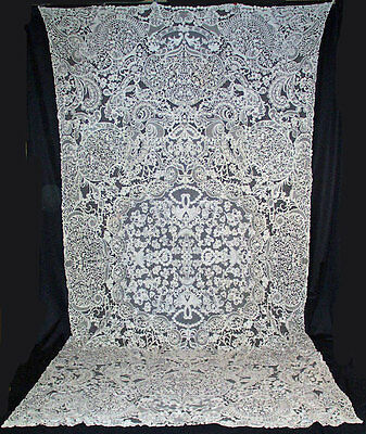 "ANTIQUE TABLECLOTH BRABANT OR MILANESE BOBBIN LACE FIGURAL BANQUET  146"" x  80"""