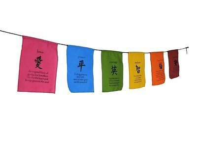 Handmade Tibetan Affirmation Prayer Flags - Peace, Happiness, Courage, Love, Tra