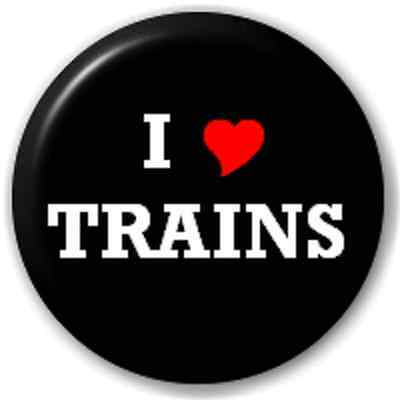SMALL 25mm I LOVE TRAINS (HEART) – PIN BUTTON BADGE