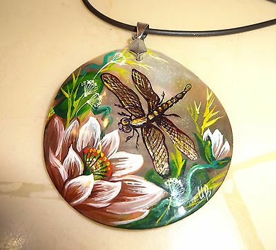 "DRAGONFLY handpainted pendant MOTHER OF PEARL Russian UNIQUE LOVELY 2"" diameter"