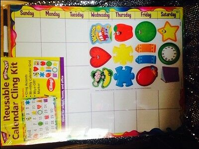 Reusable Calendar Cling Kit Wipe-Off Cling Accents Monthly School Home Office