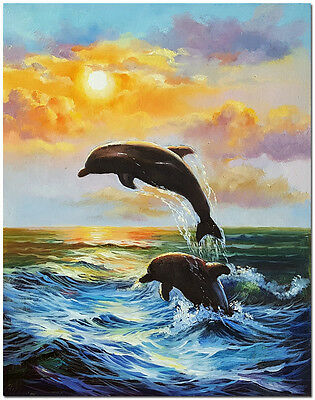 Dolphine Oil Painting On Canvas- Hand Painted Impressionist Sunset Landscape Art