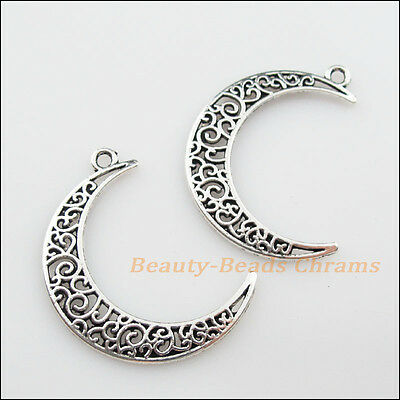 4Pcs Tibetan Silver Tone Hollow Flower Moon Charms Pendants 29x40mm