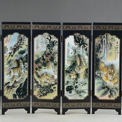 "Chinese Lacquer Old Handwork Painted Five Blessing Tiger ""six Fold Screen Decor"