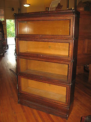 Antique Macey Oak 4 Stack Barrister Bookcase Book Shelf Cabinet