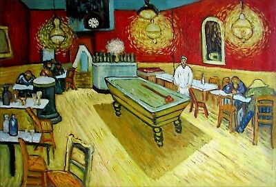 Vincent Van Gogh Night Cafe Repro, Quality Hand Painted Oil Painting 24x36in