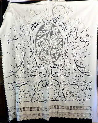 French Antique Linen Filet Crochet Lace ROSES Bed Cover Drape Curtain 8ft x 5!