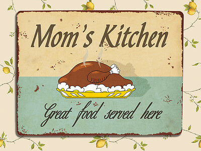 Vintage Retro Shabby chic style Moms kitchen metal sign tin wall door plaque