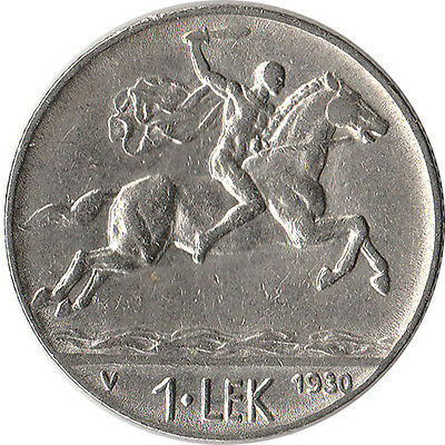 1930 Albania 1 Lek Coin Alexander the Great KM#5