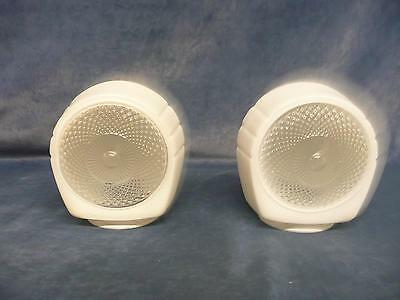 Set Of 2 Vintage Antique Retro Milk White And Clear Light Bulb Cover Globes