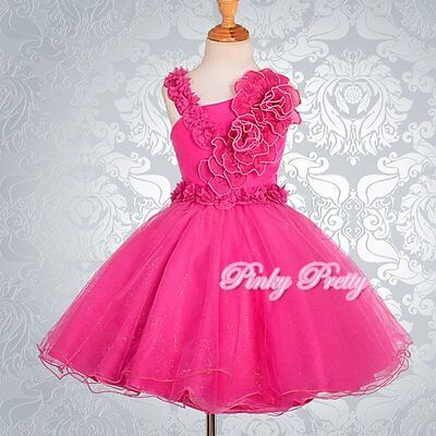 Hot Pink Pearls Flower Girl Dresses Wedding Bridesmaid Party Size 8y-9y FG172