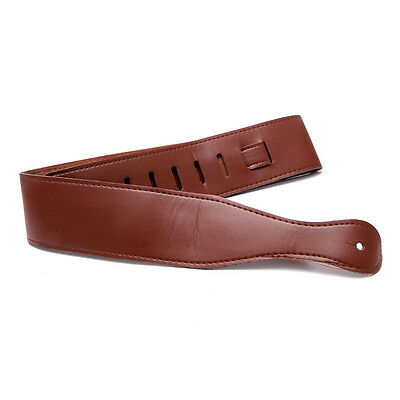 Adjustable Soft Faux Leather Brown Guitar Strap For Electric Acoustic Guitar