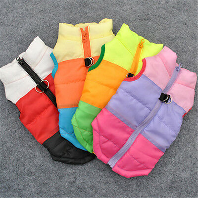 Pet Dog Puppy Winter Warm Soft Cotton Clothes Padded Vest Harness Jacket Coat