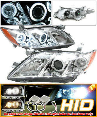 Fits 07-09 Camry Chrome Halo Projector Headlights + Xenon HID