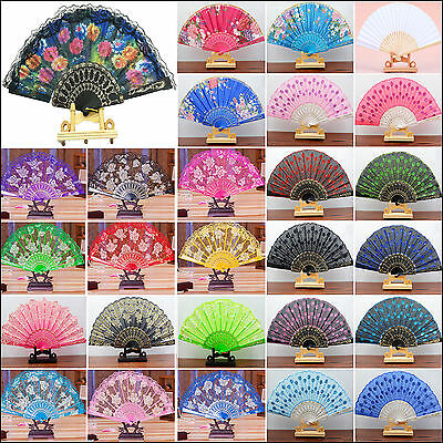 NT Lace Flower/Solid Paper Folding Hand Held Dance Fan Party Wedding Decor Gift