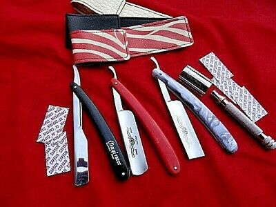4 x Quality Hairdressing Barber Cut Throat  Razor/Free Cases