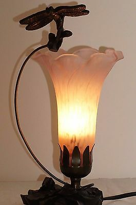 Dragonfly Lamp Tiffany Stained Glass Table Lamp Bedroom Light Metal Lily